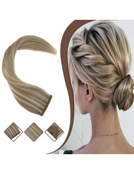 YoungSee 16inch Clip in Ponytail Human Hair Extensions Dark Ash Blonde Mixed Golden Blonde Dip Dyed Wrap Around Pony Tail Hair Piece 80G