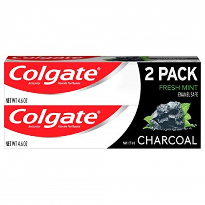 Colgate Charcoal Teeth Whitening Toothpaste, Natural Mint Flavor, Vegan - 4.6 Ounce (2 Pack)
