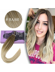 VeSunny Blonde Tape in Extensions Ombre Human Hair 20inch Balayage Color #8 Light Blonde to #60 Platinum Blonde Remy Tape Extensions Seamless Human Hair 20Pcs/50G