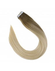 VeSunny Blonde Tape in Ombre Hair Extensions Human Hair 16inch Color #8 Light Blonde to #60 Platinum Blonde Balayage Brazilian Human Hair Tape on Extensions 20Pcs/50G