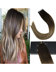 Sunny Human Hair Tape in Extensions 20 inch Tape in Human Hair Extensions Balayage Brown Remy Human Hair Extensions Tape in #3 Fading to #8 and #18 Ash Blonde Tape in Hair 50g 20pcs