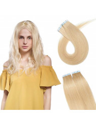 SEGO 20 Pieces Rooted Tape in Hair Extensions Human Hair Seamless Skin Weft 100% Real Remy Invisible Tape Hair Extensions Straight Double Sided 22 inches #24 Natural Blonde 30g