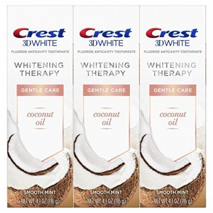 Crest Coconut Oil 3D White Toothpaste, Whitening Therapy Gentle Care with Fluoride, Smooth Mint, 3 Count