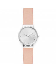 Skagen Women's Annelie Quartz Stainless Steel and Leather Watch Color: Silver, Blush (Model: SKW2753)
