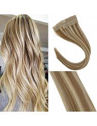 Sunny Blonde Highlighted Halo Human Hair Extensions Flish Line Color #27/613 Caramel Blonde Mixed Bleach Blonde Invisible Wire 16inch 80g/pack