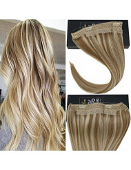Sunny Blonde Highlighted Halo Human Hair Extensions Flish Line Color #27/613 Caramel Blonde Mixed Bleach Blonde Invisible Wire 18inch 80g/pack