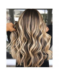 Sunny 18inch Remy Halo Hair Extensions Human Hair Balayage Ombre Darkest Brown Fading to Medium Brown with Blonde Wire Hair Extensions Real Hair 80gram