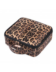 JUER Travel Makeup Train Case with Adjustable Dividers White Marble Makeup Organizer Bag Portable Cosmetic Storage Cases with Brush Holders (Leopard texture)