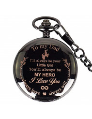 to Father Engraved Pocket Watch Christmas Gift - I'll Always Be Your Little boy You'll Always Be My Hero (Dad Gifts, White Dial)