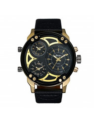 Avaner Mens Big Face Watches Round Dial 3 Time Zone Analog Display Japanese Quartz Movement Leather Strap Band Wrist Watches (Black)