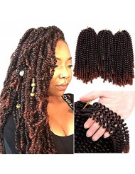 Valentines Day Gifts 3 Pack Spring Twist Hair Crochet Braids 8 Inch Short Synthetic Braiding Hair Extension 110g/pack (1b/350)