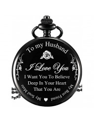Hicarer Pocket Watch Engraved Gifts for Husband with Gift Box, Christmas Birthday Fathers Husband Gift from Wife (for Husband)