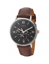Timex Men's TW2T35000 Southview 41mm Multifunction Brown/Black/Rose Gold Leather Strap Watch