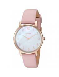Timex Women's TW2T36100 Metropolitan 34mm Blush/Rose Gold-Tone/MOP Leather Strap Watch