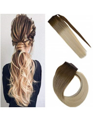 Sunny Clip in Ponytail Extensions Blonde Balayage 20 inch Ponytail Remy Hair Extensions Clip in Brown Ombre to Bleach Blonde Clip in Hair Ponytail Balayage 80g/set