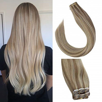 Sunny Tape in Hair Extensions 18 inch Tape in Hair Extensions Human Hair Blonde Highlighted Seamless Skin Weft Human Hair #18 Highlights #613 Tape in Extensions 20 pcs/50g