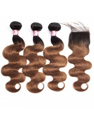 XCCOCO Brazilian Ombre Virgin Hair Full Body Wave 3 Bundles with Closure 1B/30 Two Tone Ombre Brown Human Hair Weave Bundles with Lace Closure Free Part(14 16 18+14inch Closure)