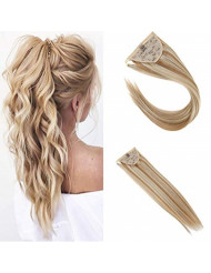 Sunny Clip in Hair Ponytail 18 inch Blonde Human Hair Color #27 Caramel Blonde Highlighted With #613 Bleach Blonde Ponytail Clip in Remy Hair One Piece 80g/set