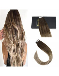 Sunny Brown Tape Hair Extensions 24 inch Human Hair Balayage #4 Dark Brown Fading to #14 Mixed #22 Blonde Tape in Hair Extensions Human Hair Brown 20pcs 50g