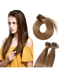 """U Tip Human Hair Extensions Pre Bonded Nail Tipped Real Human Hair Piece Italian Keratin U Tip Fusion Extensions Silky Straight 100 Strands 16""""-50g (#06 Light Brown)"""