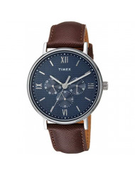 Timex Men's TW2T35100 Southview 41mm Multifunction Brown/Silver/Blue Leather Strap Watch