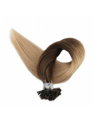 """[Clearance Sale]Full Shine Invisible Hair Extensions U Tip 22"""" 1g per Strand 50g Per Package Color #4 Fading to #27 Nail Tip Thick Hair Extensions Real Hair Fusion Tip 100% Human Hair Extensions"""