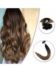 Fshine Pre Bonded Nail Keratin Tip Remy Human Hair Extensions 20 inch Balalyage Ombre Color #2 Fading to Color #6 And #18 U Tip 50 Strands Brazilian 50 Gram Keratin Beads