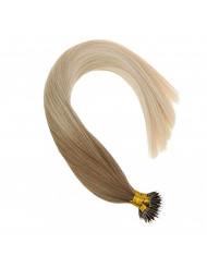 """VeSunny Blonde Balayage Hair Extensions Nano Rings Human Hair Color #14 Mix #60 Platinum Blonde Ombre Nano Ring Loop Remy Hair Extensions Real Straight Hair 22"""" 1G/S 50G"""