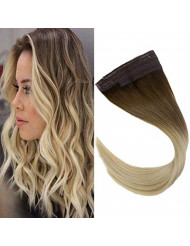 """VeSunny 12"""" Secret Halo Hair Extensions Color #6 Medium Brown Fading to #613 Bleach Blonde Wire Hair Extensions Straight Human Hair 80G/Set"""