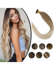 Sunny Hair Extensiones Balayage Blonde Extensions Human Hair 18Inch Remy I Tip Fusion Stick Human Hair Extensions 50 Strands with Salon Style