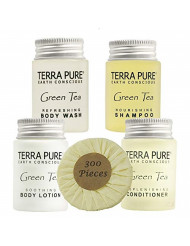 Terra Pure Hotel Size Toiletries Set | 1-Shoppe All-In-Kit Amenities For Hotels, Airbnb & Rentals | 1 oz Hotel Shampoo & Conditioner, Body Wash, Body Lotion & 1.25 oz Bar Soap | 300 Piece Travel Set