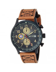 AVI-8 Men's Hawker Hurricane Stainless Steel Japanese-Quartz Aviator Watch with Leather Strap, Brown, 22.2 (Model: AV-4011-0K)