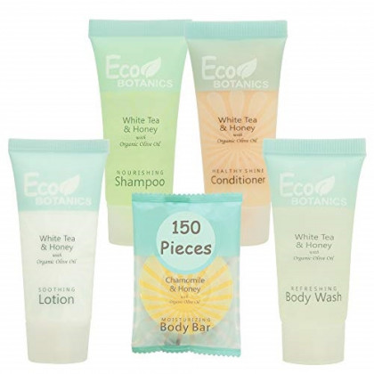 Eco Botanics Hotel Size Toiletries Set | 1-Shoppe All-In-Kit Shampoo and Conditioner, Body Wash, Lotion & Bar Soap | Amenities For Hotels & Airbnb | 150 Piece White Tea, Honey & Chamomile Travel Set