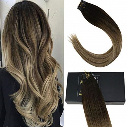 Sunny Double Sided Tape in Hair Extensions Dip Dyed Human Hair Extensions Balayage #3 Darker Brown Fading to #8 with #18 Ash Blonde Tape in Hair Extensions 22inch 2.5g/pc 100g