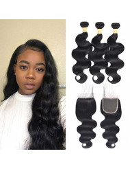 WOME Brazilian Human Hair Bundles with Closure 8A Body Wave Hair Weaves with 4x4 Free Part Closure 3 Bundles With Closure Human Hair Wefts Extensions (18 20 22+18 Closure)