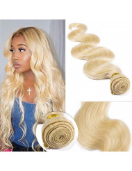 SEGO 613 Virgin Hair Bundles 7A Sew in Blonde Bundle 100% Unprocessed Brazilian Human Hair Weft Weave Extensions Thick Body Wave Wavy One Bundle for Women 10 Inch Bleach Blonde