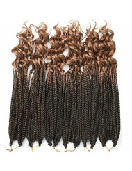 6Pcs/Pack Crochet Hair Black Box Braids Hair Ends Ombre Brown Kanekalon Loose Wave Synthetic 18 Inch Box Hair For Braid 22 Strands/pcs Braiding Hair Extensions (Black&Light Brown(1B/27))