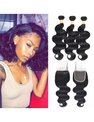 WOME 8A Brazilian Virgin Human Hair Bundles with Closure Body Wave Hair Weaves with 4x4 Free Part Lace Closure 12 14 16 +12 Inch Closure Natural Color