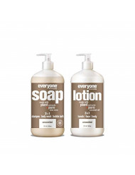 Everyone Unscented Combo Pack - 3-in-1 Soap (Body Wash + Shampoo + Bubble Bath) and 3-in-1 Lotion (Hands, Face, Body) - Unscented (set)