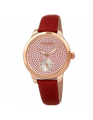 Akribos XXIV Women's Watch - Sparkling Glitter Dots with Sub-Second Subdial - Smooth Leather Strap - AK1089 (Red)