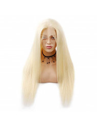 Glueless 613 Blonde Lace Front Wigs Human Hair with Baby Hair Pre Plucked Peruvian Straight Lace Frontal Wig Can Be Dyed Honey Blonde Remy Lace Wigs For Women (24, 613 st)