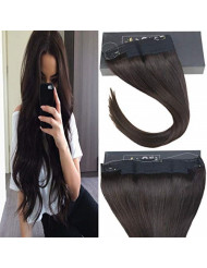 Sunny 12inch Invisible Halo Hair Extensions Human Hair Color Dark Brown #2 Double Weft Remy Wire Human Hair Extensions