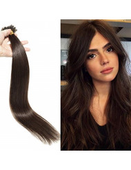 U Tip Pre Bonded Remy Human Hair Extensions 100 Strands Per Package Nail Tip Italian Keratin Fushion Hairpiece Long Straight Silky For Women #2 Dark Brown 18 inches 50g
