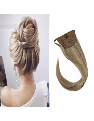 Sunny Blonde Highlighted Clip in Ponytail Hair Extensions 14 inch Blonde Highlights Ponytail Extension Golden Blonde Highlight with Medium Blonde 80G