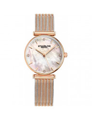 Stuhrling Original Womens Watch Mother of Pearl Analog Watch Dial, Silver Stainless Steel Braided Mesh 3927 Watches for Women Collection (Rose Gold/Gold/Silver)