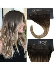 Sunny 16inch One Piece Bayalage Halo Human Hair Extensions 80g Brown to Ash Blonde Highlights Invisible Wire Hair Extension Remy Hair