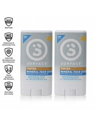 Surface Tinted Mineral Face Sunscreen Stick - Reef Safe, Broad Spectrum UVA/UVB Protection, Non-Migrating, Non-Greasy, Ultra Water Resistant - SPF 45, 0.5oz, 2 Count