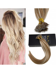 Sunny 20inch Nano Ring Hair Extensions with Nano Ring Beads Color Caramel Blonde Highlight Bleach Blonde Remy Hair Extensions Nano Tip Hair Extensions Human Hair 1G/1S 50G