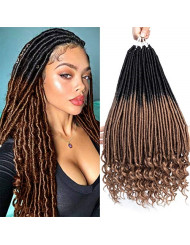 6 Packs 18inch Straight Goddess Locs With Curly Ends Faux Locs Crochet Twist Hair Soft Synthetic Braiding Hair Extension Wavy Faux Locs Twist Hair Havana Mambo Twist Hair (18inch, T1b-27)