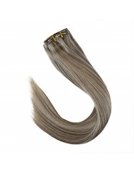 VeSunny Dirty Blonde Highlight Clip in Hair Extensions Piano Color #20 Mix #60 Platinum Blonde Remy Full Head Human Hair Clip in Extensions Grade 7A 14inch 7pcs/120g
